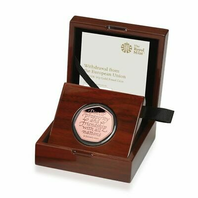 Withdrawal from the European Union Brexit 2020 UK 50p Gold proof coin. In hand.