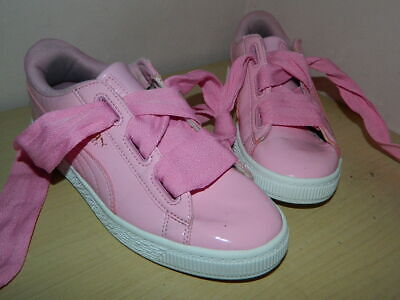 girls pink Puma Basket lace up shoes trainers uk 2 eur 34.5 * VGC