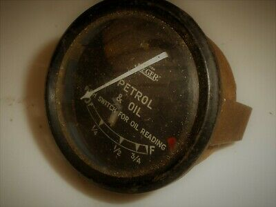 Vintage British Jaeger Petrol / Oil combo Gauge with Domed Glass classic Car