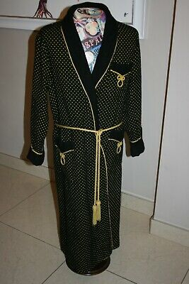 Men's Vintage Invicta Dressing Gown Black & Gold Size Medium Great Condition