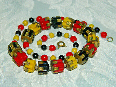 Antique Vintage Neiger Brothers ?  glass bead necklace art deco