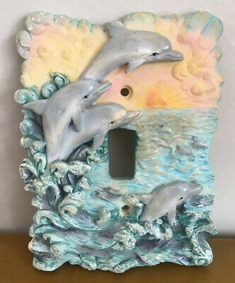VTG Dolphins 3D Artwork Light Switch Cover Plate DEAD STOCK 1980's NEW OLD STOCK