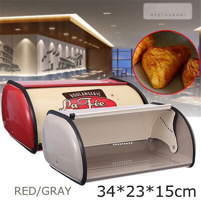 French Bread Cookie Storage Food Container Box Iron Bin Kitchen Cafe Pastry Loaf