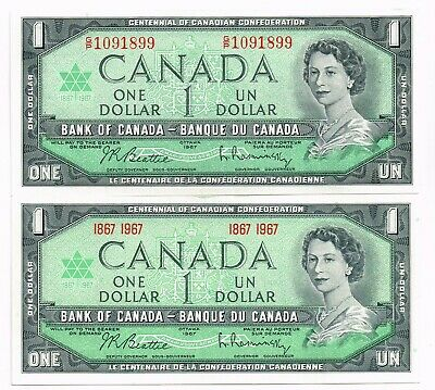 LOT OF TWO 1967 CANADA ONE DOLLAR CENTENNIAL NOTES - p84a,b