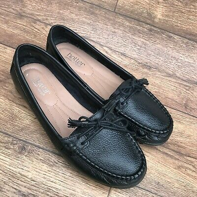 Size Uk 8 Hotter Honiton Black Leather Comfortable Slipon Loafers Moccasin Shoes