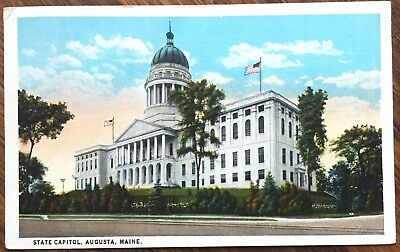 1923 Augusta, ME Postcard: State Capitol Building - Maine