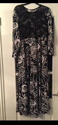Women's Silver Sequin; Floral Black And White Netted Maxi Dress - Size 54 UK12