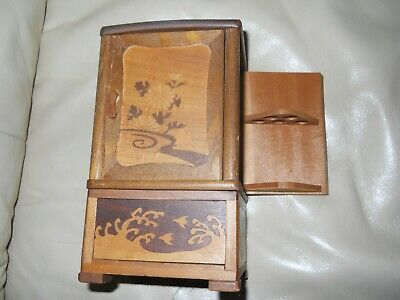 Antique Japanese Puzzle Cigarette Match Box Cabinet Wooden Inlay Rare