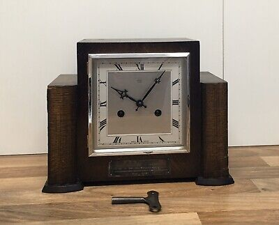 Antique ANVIL Mantel Clock With Key Art Deco Chime Vintage Rare Old SparesRepair