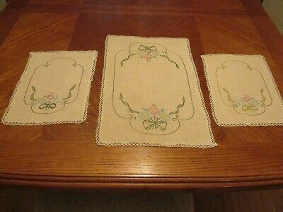 Set of 3 Matching Vintage Beige Linen Doilies Embroidered Flowers