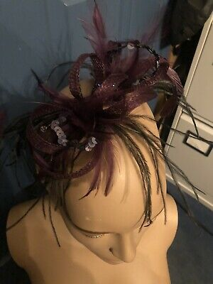 Hat Fascinator Purple Black Occassion Event Clip Sequins Feathers Wedding