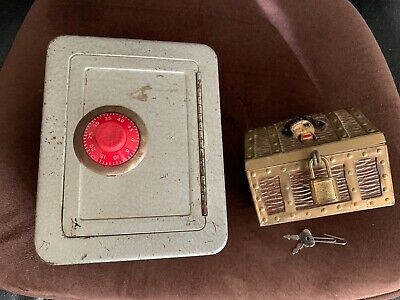 2 Vintage Banks:  Metal Combination Safe & Small Pirate's Treasure Chest w/Lock