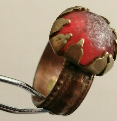 Ancient Roman Bronze Ring With Stone Very Stunning Beautiful