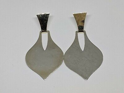 """RARE RETIRED 2.25"""" Sterling Silver Bonded 14k Yellow Gold Hammered Earrings"""