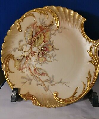 Antique Royal Worcester Blush Ivory Ware Fluted Shallow Dish Bowl w. Gold c.1890