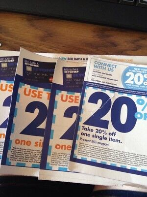 LOT OF 4 - Bed Bath And Beyond 20% Off  Single Item Coupons