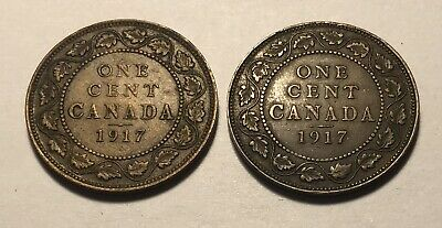 Lot of 2 - Canada 1917 Large One Cent Coins - King George V