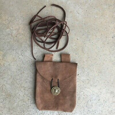Medieval Renaissance Leather Brown Suede Pouch LARP andLeather Lacing