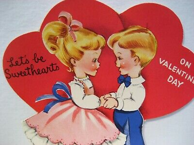 Vintage Valentine Card Pretty Girl Dress Boy Tie Let's Be Sweethearts UNUSED