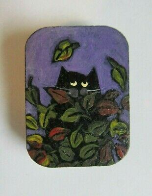 Cat Original Painting Wood Magnet Black Kitty Fall Leaves Handpainted Folk MKing