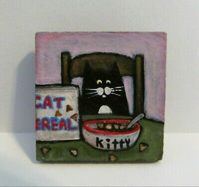 Cat Original Painting Wood Magnet Tuxedo Kitty Cereal Handpainted Folk Art MKing