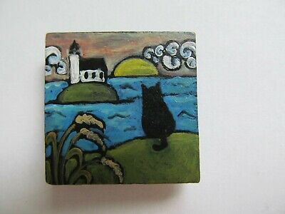 Cat Original Painting Wood Magnet Black Kitty Lighthouse Handpainted Folk M King