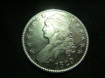 1829 Capped Bust Silver Half Dollar VF+/XF White and Brilliant! O.114