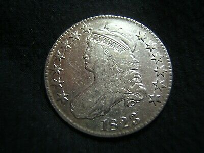 1823 Capped Bust Silver Half Dollar XF White and Brilliant! O.111