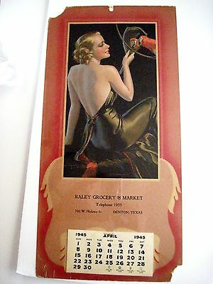 Vintage 1945 Advertising Calendar w/ Woman and Parrot by Bradshaw Crandell