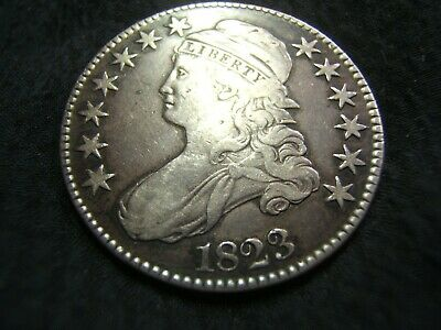 1823 Silver Capped Bust Half $ VF and nice gun metal tone! O.104