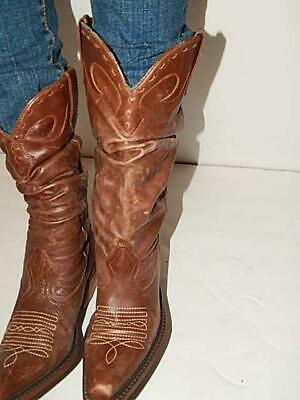 Steve Madden Brown Leather Boots Size 8 Saddle CowBoy Boots Western Boots