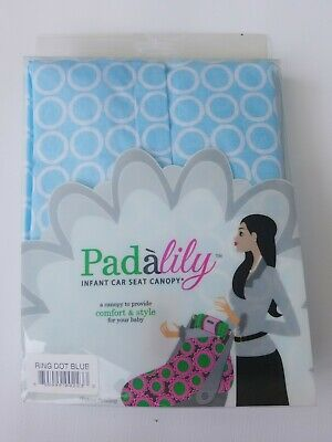 NEW in box Padalily Infant Car Seat Canopy Cover  Ring Dot Blue Pad a lily