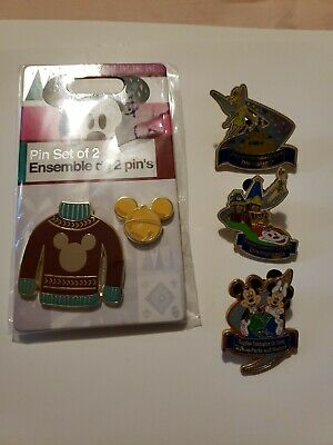 Set Of 5 Disneyland/Christmas Collectible Pins - Tinkerbell, Mickey, Minnie