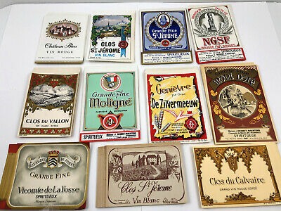 6 Antique//Vtg Soda Bottle paper LABELS Blossoms,RKDN Wine Punch,Strawberry orig.