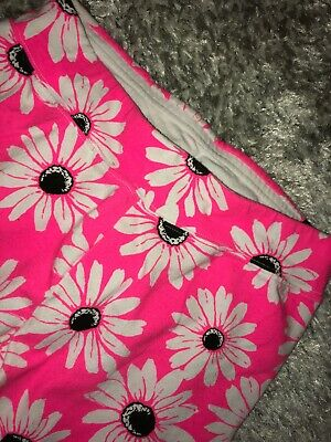 JUSTICE~GIRLS 14~SPRING HOT Pink DAISY~Full Length HIgh waist Cotton LEGGINGS