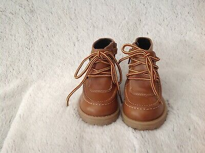 Boys Tan Leather Lace Up Ankle Boots, Size 6 , Marks & Spencer, Bnwt, Rrp £30