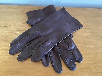 Dents Brown Fine Leather Gloves - Women's 6.5 (Small) Immaculate - Made in Italy