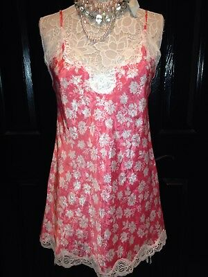VICTORIAS SECRET~SATIN LACE~CHEMISE NIGHTIE Gown~Babydoll~ SMALL S~VTG runs Big