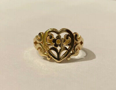 James Avery Retired 14k Gold Scrolled Heart Flower Ring sz 7.5