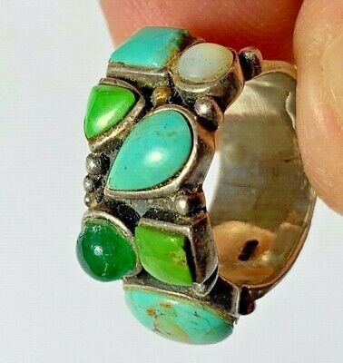 PERFECT - ANCIENT ROMAN SILVER RING 7 RARE STONES  7.9gr 25mm (inner 18mm)