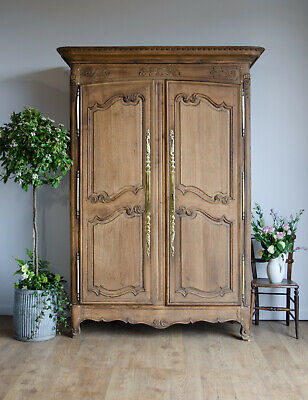 French Antique 19C Oak Armoire Wardrobe Linen Press with Hanging Rail & Drawers