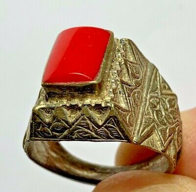 LATE MEDIEVAL SILVER RING - rare red STONE INTAGLIO 7.6gr 29mm (INNER 20mm)