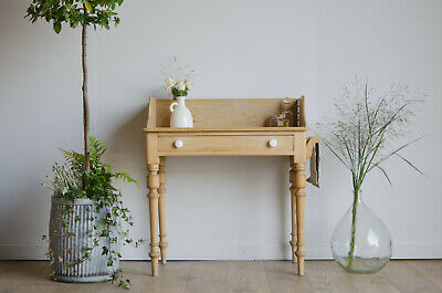 Antique Victorian Pine Washstand Dressing Table with Shaped Gallery & Towel Rail