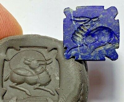 ANCIENT GREEK Lapis Lazuli Stone Intaglio Seal - ANIMAL Bead Pendant 4.6gr 21.6m