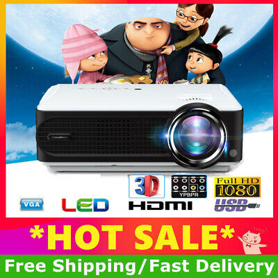 7000 Lumens HD 1080P LED LCD Projector Media Home Outdoor Cinema HDMI USB 2000:1