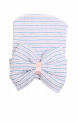 Baby Girls Infant Striped Soft Hat with Bow Cap Hospital Newborn Boy Beanie Hats