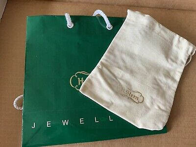 Vintage Authentic H. STERN Beige Leather Drawstring Bag Case & Gift Bag Jewelry