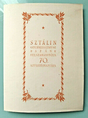 Hungary Stalin 70th birthday 1879-1949 booklet with 6-9-1991 Budapest cancel
