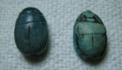 2 Ancient Scarabs 5/8 X 3/8 Inches Egyptian Style Time Period Unknown Read!!!