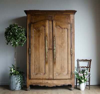 French Antique 19C Chestnut Armoire Wardrobe Linen Press Hanging Rail Drawers